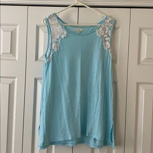 Light blue tank with lace shoulders!